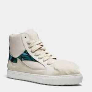 Coach Sheep Sherling Pointy Toe High Top Sneakers